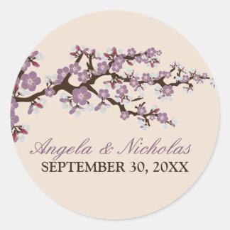 Cherry Blossom Wedding Invitation Seal (purple) Round Stickers