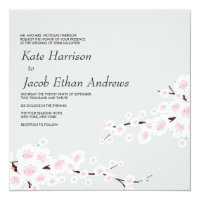Cherry Blossom Wedding Invite // Silver