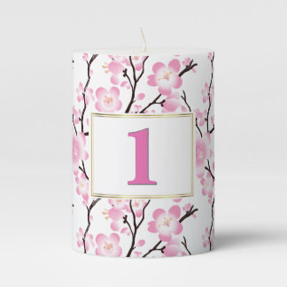 cherry blossom wedding occasion table decor candle