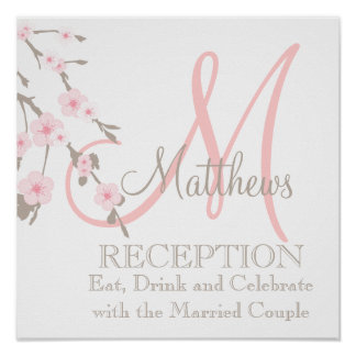 Cherry Blossom Wedding Reception Sign Pink