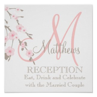 Cherry Blossom Wedding Reception Sign Pink print