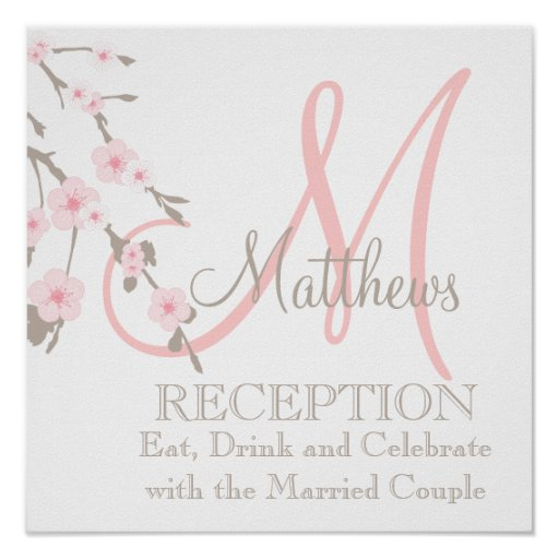 Cherry Blossom Wedding Reception Sign Pink Poster