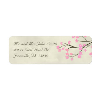 Cherry Blossom Wedding Return Address Labels