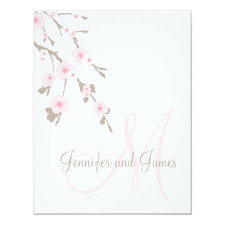 Cherry Blossom Wedding RSVP Cards Monogram Announcement
