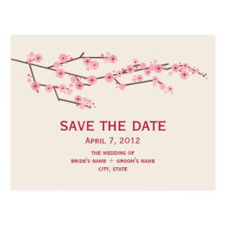 Cherry Blossom Wedding Save The Date Postcard