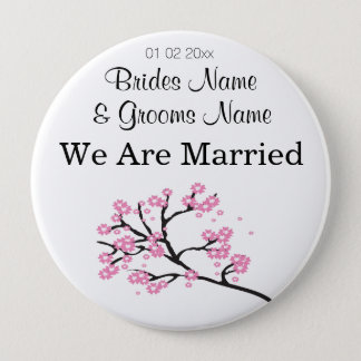 Cherry Blossom Wedding Souvenirs Gifts Giveaways Pinback Button