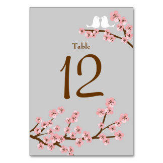 Cherry Blossom Wedding Table Number Card