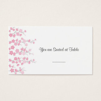 cherry blossom; wedding table seating business card
