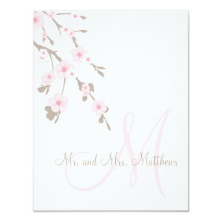 "Cherry Blossom Wedding Thank You Cards Front 4.25"" X 5.5"" Invitation Card"