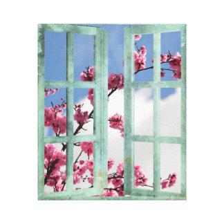 Cherry Blossom Window Scene Canvas Print
