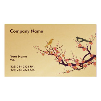 Cherry Blossom with Birds Business Card Templates