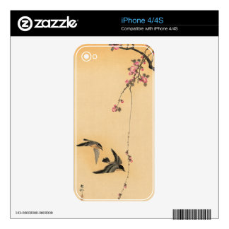 Cherry blossom with birds by Ohara Koson Decal For iPhone 4