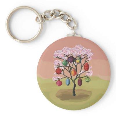 Cherry Blossom with oriental paper lanterns Keychain by giftsbonanza