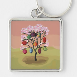 Cherry Blossom with oriental paper lanterns Keychain