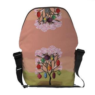Cherry Blossom with oriental paper lanterns Messenger Bag