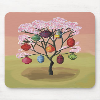 Cherry Blossom with oriental paper lanterns Mouse Pads