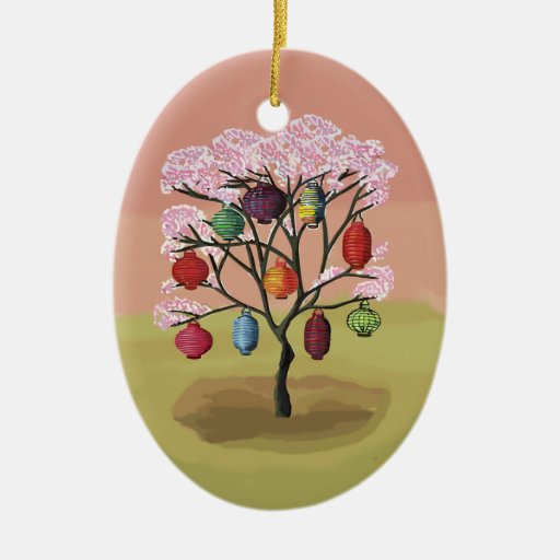 Cherry Blossom with oriental paper lanterns Ornament