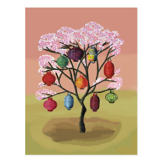 Cherry Blossom with oriental paper lanterns Post Cards