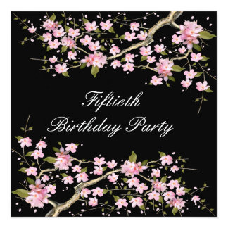Cherry Blossom Womans 50th Birthday Party Invitation
