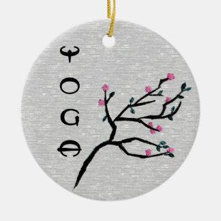 Cherry Blossom - Yoga Decor Double-Sided Ceramic Round Christmas Ornament