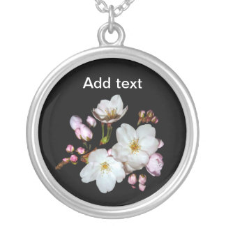Cherry blossoms. 桜 round pendant necklace