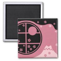 japan, japanese, ninja, samurai, sakura, nippon, asia, cherry-blossom, illustration, graphic, flower, vintage, fujiya, art, oriental, pink, pop, cute, pretty, cherry blossom, Ímã com design gráfico personalizado