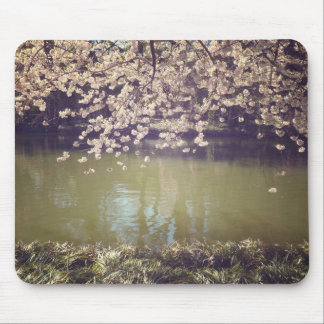 Cherry Blossoms Above A Garden Pond Mouse Pad
