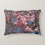 Cherry Blossoms and Bee Pink Spring Floral Accent Pillow