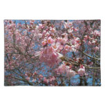 Cherry Blossoms and Bee Pink Spring Floral Cloth Placemat