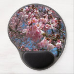Cherry Blossoms and Bee Pink Spring Floral Gel Mouse Pad