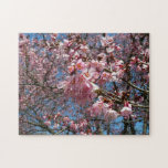 Cherry Blossoms and Bee Pink Spring Floral Jigsaw Puzzle