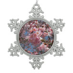 Cherry Blossoms and Bee Pink Spring Floral Pewter Snowflake Ornament