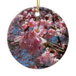 Cherry Blossoms and Bee Pink Spring Floral Double-Sided Ceramic Round Christmas Ornament