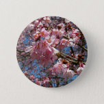 Cherry Blossoms and Bee Pink Spring Floral Pinback Button