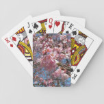 Cherry Blossoms and Bee Pink Spring Floral Poker Cards