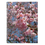 Cherry Blossoms and Bee Pink Spring Floral Spiral Notebook