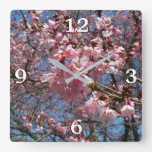 Cherry Blossoms and Bee Pink Spring Floral Square Wall Clock