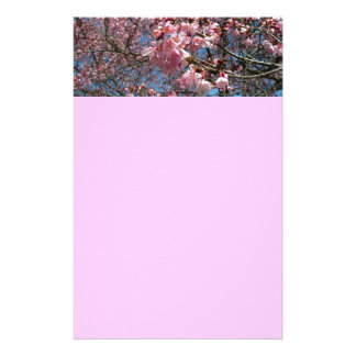 Cherry Blossoms and Bee Pink Spring Floral Stationery
