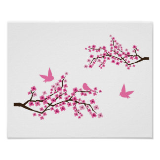 Cherry Blossoms and Birds Print