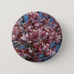 Cherry Blossoms and Blue Sky Spring Floral Pinback Button