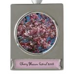 Cherry Blossoms and Blue Sky Spring Floral Silver Plated Banner Ornament