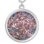 Cherry Blossoms and Blue Sky Spring Floral Silver Plated Necklace