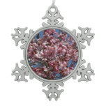 Cherry Blossoms and Blue Sky Spring Floral Snowflake Pewter Christmas Ornament