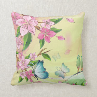 Cherry Blossoms and Butterflies American MoJo Throw Pillows