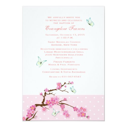 """Cherry Blossoms and Butterflies Invitation 5"""" X 7"""" Invitation Card"""