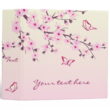 Beach Themed Cherry Blossoms and Butterflies Pink Binder