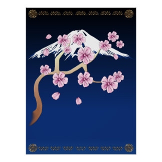 Cherry Blossoms and Mt. Fuji Poster