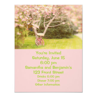 Cherry Blossoms and Old Wagon Wheel 4.25x5.5 Paper Invitation Card