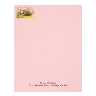 Cherry Blossoms and Old Wagon Wheel Personalized Letterhead