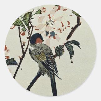 Cherry Blossoms and Small Bird Classic Round Sticker